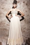 Halewood Vintage Strapless Beading Ruffles Long Beige Evening Gown