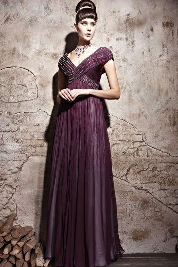 Vestido de Noche Largo de Lyocell con Escote en V Abalorio