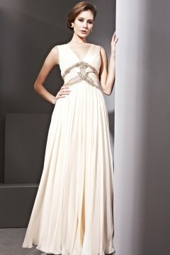 Halstead Ivory V neck Beading Empire Evening Dress