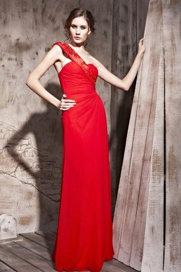 Noble Vestido de Noche con Solo Hombro Volande Abalorio Corte Recto Rojo