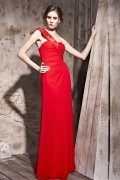 Etui Linie Ein Schulter Falte Perlen verziertes rotes Abendkleid