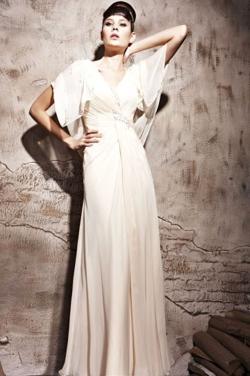 Dressesmall Beading V neck Ruffles Sleeve Tencel A line Evening Dress