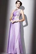 Vestidos de noite longo elegante em Tencel um ombro linha-A decorado de strass com apliques e degradação da cor