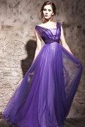 Vestido de noite em Tencel linha-A decote quadrado pregueado e decorado de strass
