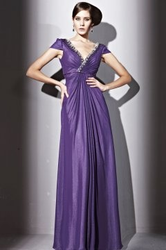 Hailsham Purple V neck Cap Sleeve Empire Evening Gown
