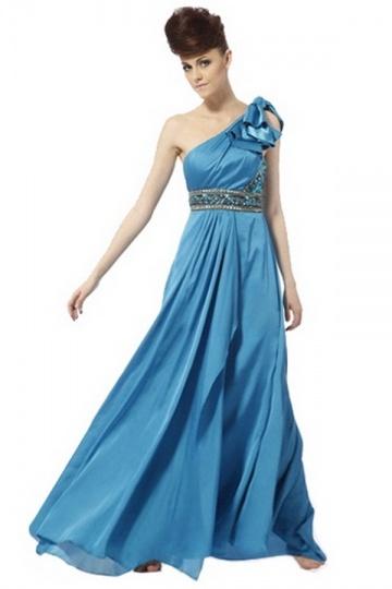 Dressesmall Beading Rhinestone One Shoulder Satin Blue A line Formal Dress
