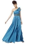Vestido de Noche con Solo Hombro Volante Abalorio Corte A Azul