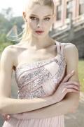 Robe de soirée en Tencel rose ornée de strass à A-ligne à seule épaule