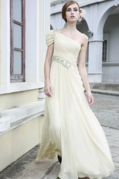 One Shoulder Cap Sleeve Beige Long Evening Dress In Stock