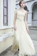 Vestido de noite em Chiffon de seda bege decorado de strass linha-A um ombro