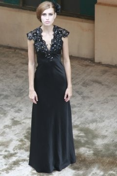 Basildon V neck Lace Black Evening Dress