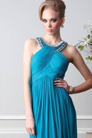 Vestidos de Baile azul linha-A decote rodada decorado de strass
