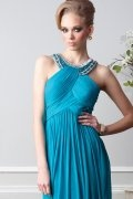 Blue Beaded Round Neck A line Chiffon Prom Dress