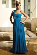 Royal Blue Applique Pleated One Shoulde A line Prom Dress