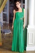 Green Crystal PleatsOne Shoulder A line Chiffon Prom Dress