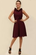 Flowers Round Neck Chiffon Burgundy A line Knee Length Formal Dress
