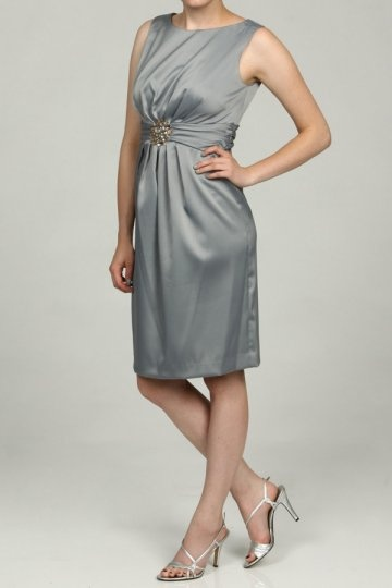 Dressesmall Crystal Details Scoop Neck Satin Gray Sheath Knee Length Formal Dress
