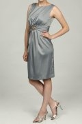 Crystal Details Scoop Neck Satin Gray Sheath Knee Length Formal Dress