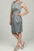 Crystal Details Scoop Neck Satin Gray Sheath Knee Length Formal Dress