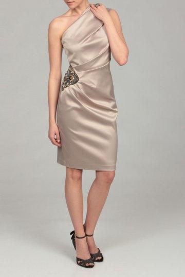 Dressesmall Ruching One Shoulder Satin Column Knee Length Formal Dress