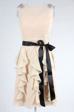 Ruffles Bowknot Scoop Neck A line Knee Length Prom Dress