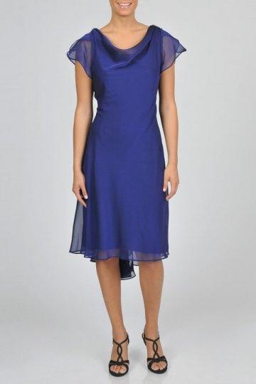 Dressesmall Ruffles V neck Chiffon Royal Blue Sheath Knee Length Formal Dress