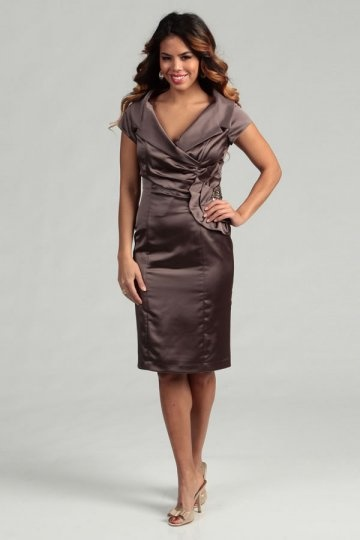 Ruching V Neck Satin Coffee Column Knee Length Mother of The Bride Dress