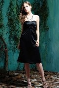 Ruching Bow Strapless Satin Black Column Knee Length Formal Dress
