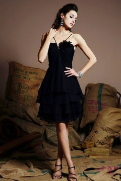Spaghetti strap short chiffon black bridesmaid dress