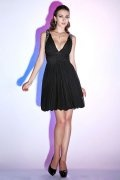 Pleats Beading V neck Chiffon Black A line Knee Length Prom Dress