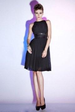 Bateau Pleats Sash Chiffon Black Knee Length Cocktail Dress
