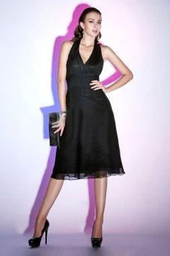 Sexy Ruching V neck Halter Chiffon Black Knee Length Formal Dress