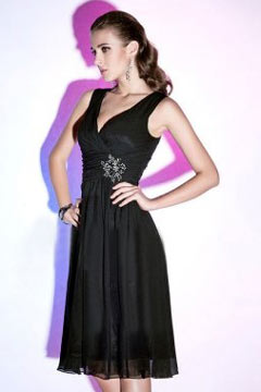 Sexy Pleats Beading V neck Chiffon Black Sheath Knee Length Prom Dress