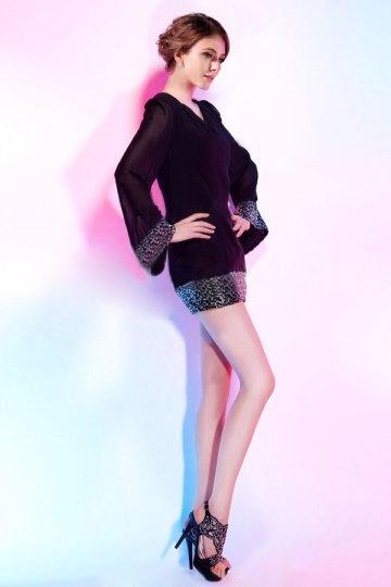 Dressesmall Sequins V neck Chiffon Black Column Short Formal Dress