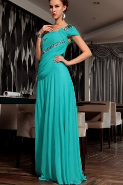 One Shoulder Chiffon Floor Length Hunter Graduation Dress In Stock