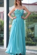 A line Strapless Empire Beading Floor Length Evening Dress