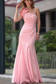 Ilchester One Shoulder Tiers Pink UK Prom Dress