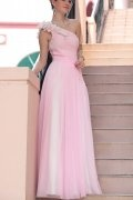 Beading Hand Made Flower One Shoulder Tulle Pink School Formal Dress
