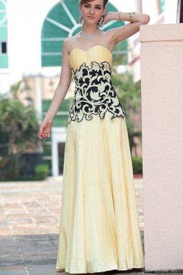 Strapless Yellow Appliques Beading Ruching Chiffon Prom / Evening Dress