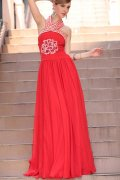 Halter Red Beading Embroidery Ruching Tencel Prom / Evening Dress