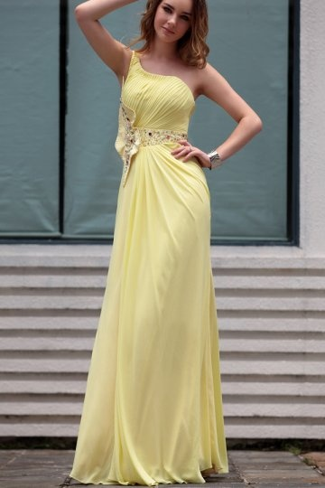 Dressesmall Beading Pleated One Shoulder Chiffon Yellow Column School Formal Dress