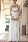Beading Ruching Spaghetti Straps ITY White A line Formal Evening Dress