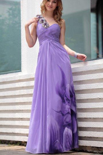 One Shoulder Purple Ruching Pattern Chiffon Prom / Evening Dress