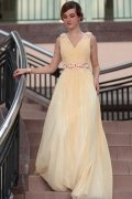 A line V neck Beading Floor Length Yellow Long Evening Dress