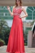 Beading Applique V neck ITY Long Red School Formal Dress