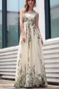A-line Halter Empire Printing Long Evening Dress