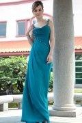 Robe de soirée longue mousseline bleu truquoise bustier coeur avec bretelles