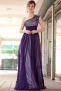 A Linie Paillette Ein Schulter Abendkleid aus Chiffon