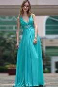 Vestido de Noche Largo de Gasa con Escote en V Alfiler Flor Cristal Corte A