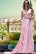 Ruching V neck Chiffon A line Evening Dress